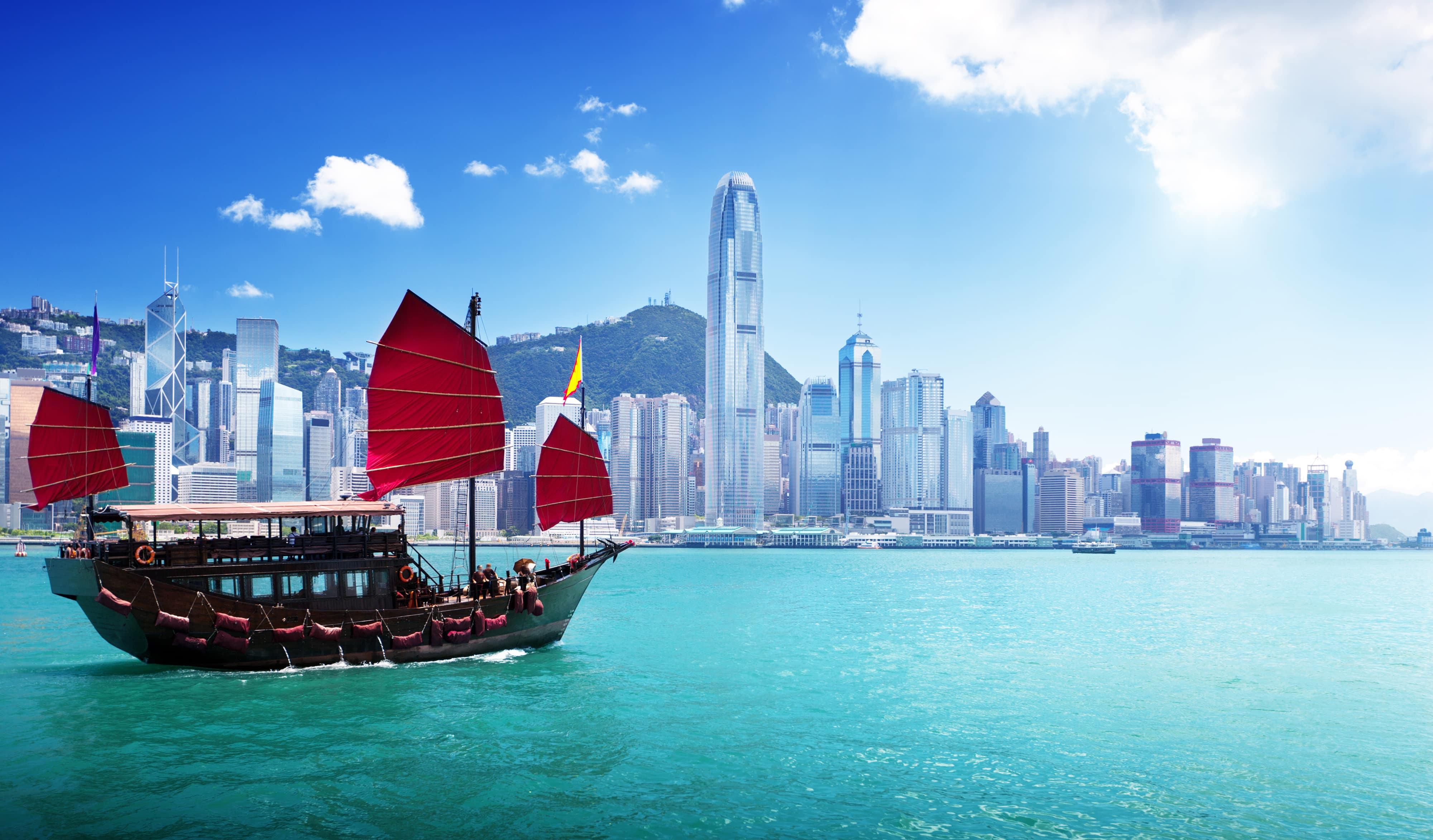Hongkong-Skyline-vom-Wasser